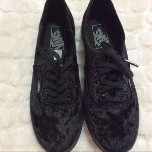 Vans Black Off The Wall Velvet Sneakers 6.5